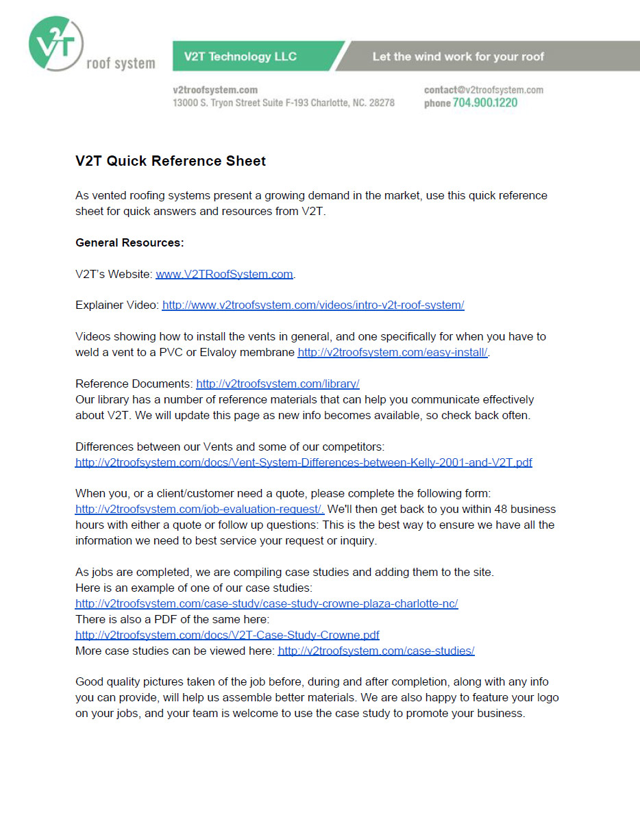 V2T Quick Reference Sheet